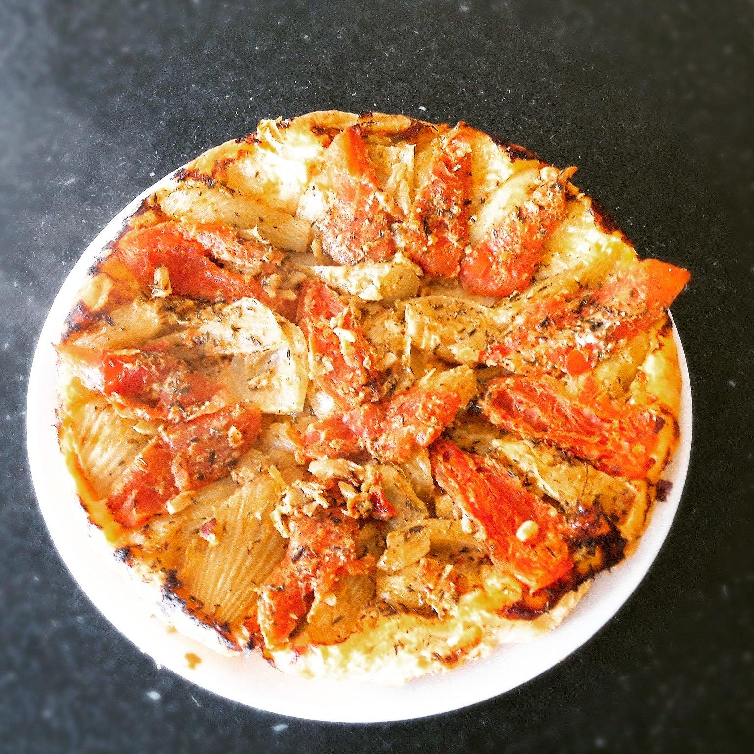 Tatin de fenouil tomates à la moutarde tomates olives
